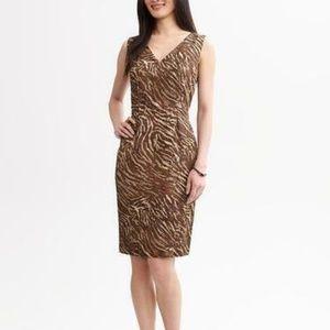 Banana Republic Zebra Print Sheath Brown Dress